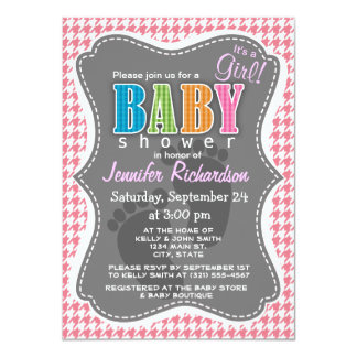"Blush Pink Houndstooth 4.5"" X 6.25"" Invitation Card"