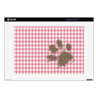 Blush Pink Houndstooth Paw Print Laptop Skins