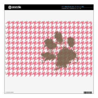 """Blush Pink Houndstooth Paw Print Decal For 11"""" MacBook Air"""