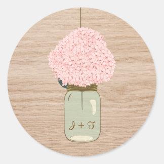 Blush Pink Hydrangea & Mason Jar Bridal Shower Classic Round Sticker