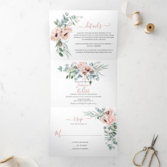 Blush Pink & Ivory Watercolor Floral Wedding   Tri-Fold Invitation