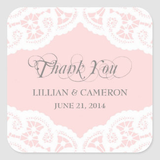 Blush Pink Lace Doily Thank You Name Stickers