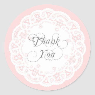 Blush Pink Lace Doily Thank You Stickers