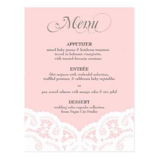 Blush Pink Lace Doily Wedding Menu Postcard