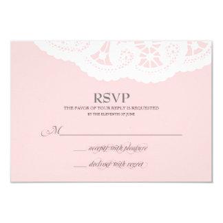 Blush Pink Lace Doily Wedding RSVP Announcement
