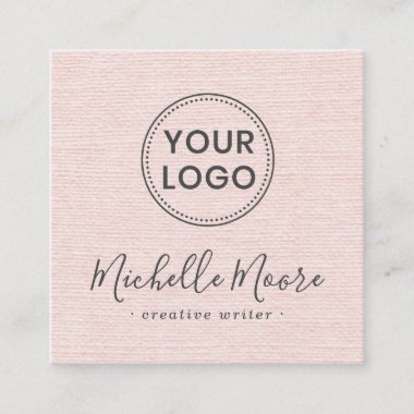 Blush pink linen add your logo social media icons square business card
