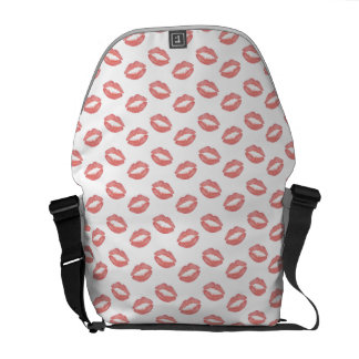 Blush Pink Lipstick Kisses Courier Bags