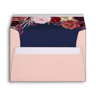 Blush Pink Marsala Fall Peony Wedding Envelopes