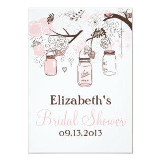 "Blush Pink Mason Jars Bridal Shower Invitations 5"" X 7"" Invitation Card"