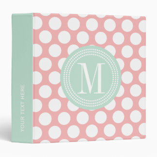 Blush Pink & Mint Big Polka Dots Monogrammed Binder