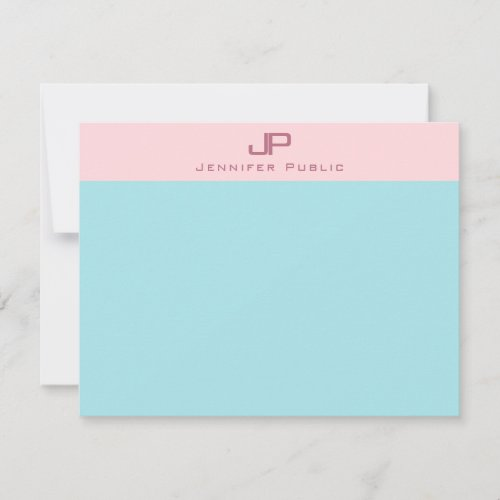 Blush Pink Mint Blue Monogram Simple Elegant Note Card