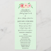 Blush Pink Mint Green Floral Wedding Program