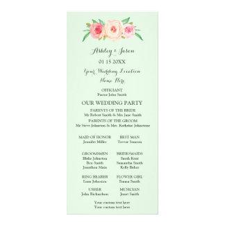 Blush Pink Mint Green Floral Wedding Program