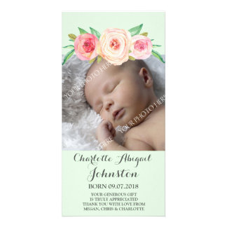 Blush Pink MintThank You Baby Shower Card