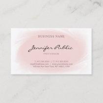 Blush Pink Modern Elegant Handwritten Script Plain Business Card