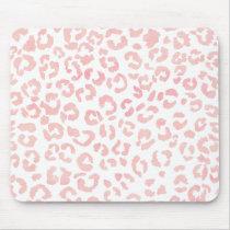 Blush pink modern leopard pattern watercolor mouse pad