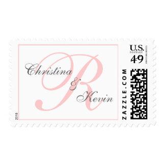 Blush Pink Monogram Names | Elegant Wedding Stamps