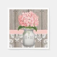 Blush Pink Monogrammed Hydrangea Mason Jar Napkin