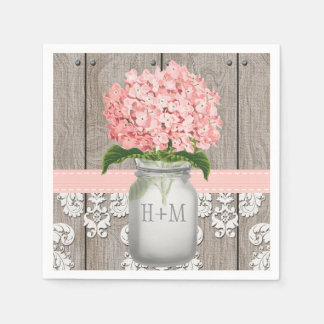 Blush Pink Monogrammed Hydrangea Mason Jar Disposable Napkins