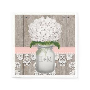 Blush Pink Monogrammed Hydrangea Mason Jar Standard Cocktail Napkin