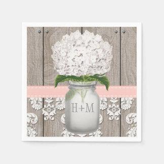 Blush Pink Monogrammed Hydrangea Mason Jar Paper Napkins