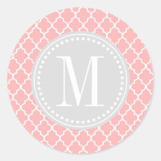 Blush Pink Moroccan Tiles Lattice Personalized Round Sticker