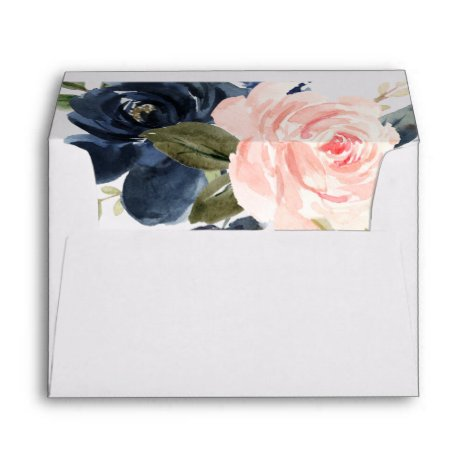blush pink navy blue floral envelopes 5x7 card