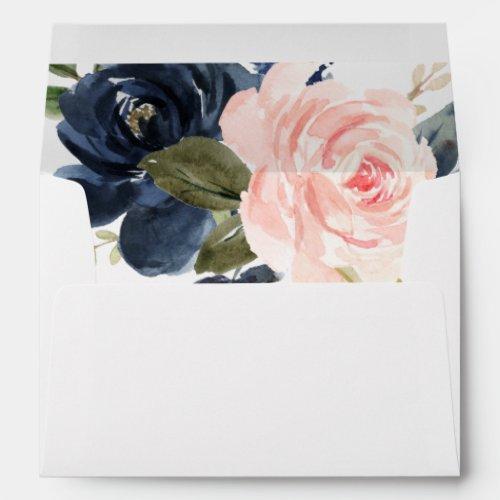 blush pink navy blue floral envelopes 5x7 card