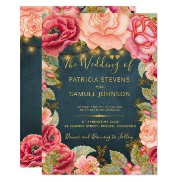 Wedding Themed Blush pink navy gold romantic garden wedding card