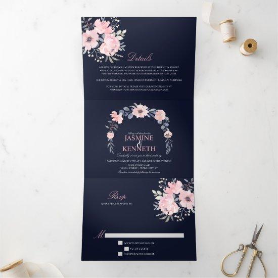 Blush Pink & Navy Watercolor Floral Wedding Tri-Fold Invitation