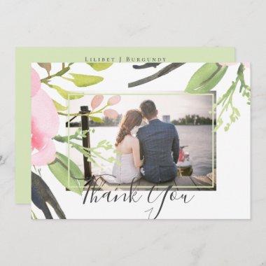 Blush Pink Olive Photo Thank You Wedding