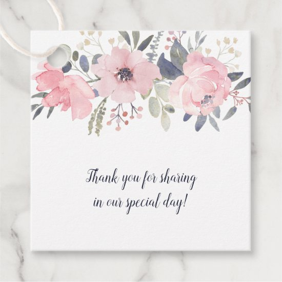 Blush Pink on White Floral Square Wedding | Favor Tags