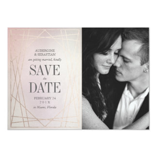 Blush Pink Opaline Wedding Save the Date with Gold Card