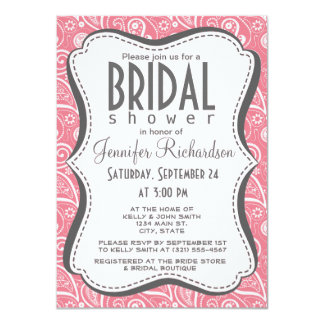 "Blush Pink Paisley; Floral 4.5"" X 6.25"" Invitation Card"