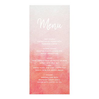 Blush Pink & Peach Watercolor Wash Wedding Menu