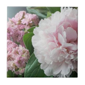 Blush Pink Peonies Ceramic Tile