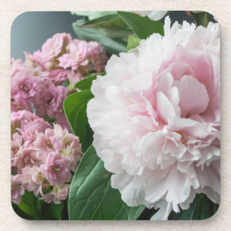 Blush Pink Peonies Drink Coaster