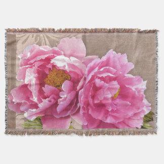 Blush ~ pink peonies floral blanket throw
