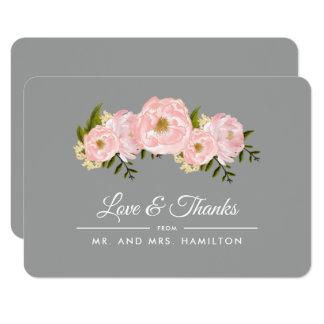 Blush Pink Peonies Grey Wedding Thank You Cards