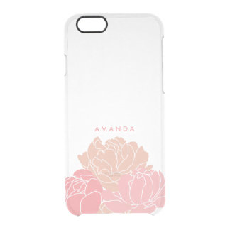 Blush Pink Peonies Personalized Clear iPhone Case