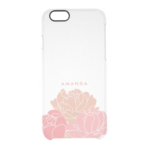 Blush Pink Peonies Personalized Clear iPhone Case Uncommon Clearly(tm) Deflector Iphone 6 Case