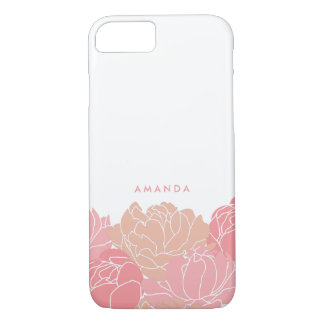 Blush Pink Peonies Personalized iPhone Case