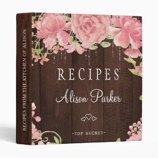 Blush pink peonies roses barn wood rustic recipes binder