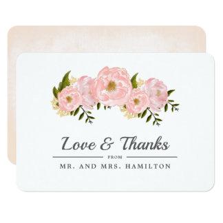 Blush Pink Peonies Wedding Thank You Cards
