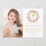 "Blush Pink Peonies Wreath Holy Communion Thank You<br><div class=""desc"">Blush Pink Peonies Wreath First Holy Communion Thank You Card. Customizable thank you flat card featuring pink watercolor peonies and roses with foliage,  twigs and baby's breath accent. This floral photo thank you card will also be perfect for Baptism and Christening thank you card.</div>"