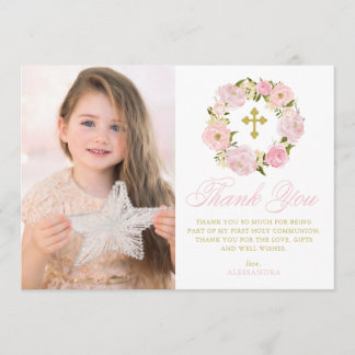Blush Pink Peonies Wreath Holy Communion Thank You