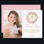 """Blush Pink Peonies Wreath Holy Communion Thank You Card<br><div class=""""desc"""">Blush Pink Peonies Wreath First Holy Communion Thank You Card. Customizable thank you flat card featuring pink watercolor peonies and roses with foliage,  twigs and baby&#39;s breath accent. This floral photo thank you card will also be perfect for Baptism and Christening thank you card.</div>"""