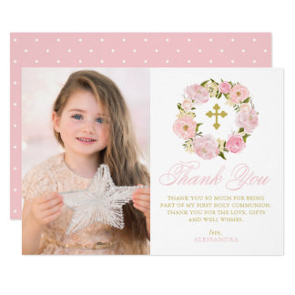 Blush Pink Peonies Wreath Holy Communion Thank You Card