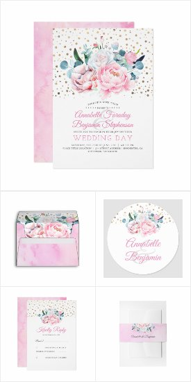 Blush Pink Peony and Gold Confetti Wedding Invitation Set