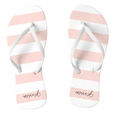 Beach Themed Blush Pink Personalized Stripe Thongs Flip Flops